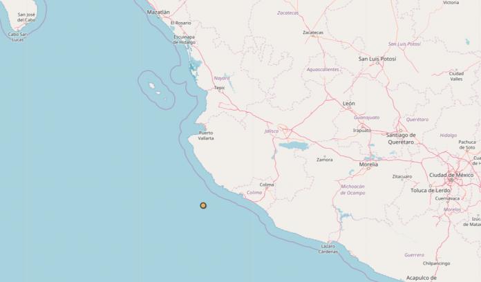 Sismo en Jalisco con límites de Bahía de Banderas y Colima